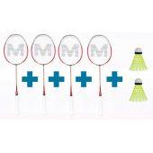 Merco Thunder Two - sada 4 badmintonových raket + 2 MÍČKY ZDARMA!!!